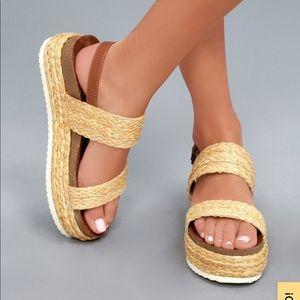 Natural Rafia Flatform Sandals MIA